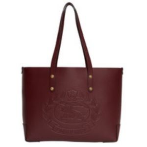 Aut BURBERRY Embossed Crest Cranberry Leather Tote
